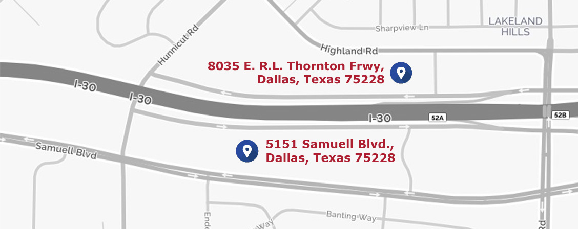 Map of DCS East Dallas locations